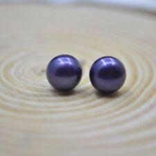 Natural Cultured Genuine Freshwater Pearl 925 Sterling Silver PLT Stud Earrings