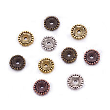 200g Mixed Color Tibetan Silver Disc Spacer Beads DIY Findings 12x2mm hole 2mm