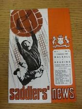 07/09/1968 Walsall v Reading  (Pen Marks On Cover). This item is in very good co