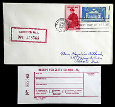 US 1955 CERTIFIED MAIL FIRST DAY COVER WITH MATCHING RECEIPT (ESP#765)