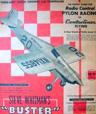 "Vintage BUSTER Berkeley's Big 48"" Span RC / UC PLANS 1/4-Scale Model Airplane"