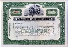 Narragansett Racing Association Inc. Stock Certificate Rhode Island Horse
