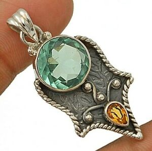 """6CT Aquamarine 925 Solid Sterling Silver Pendant Jewelry, 1 3/4"""" Long NW3-7"""