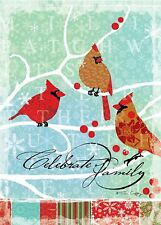 Cardinals - Celebrate Family - Large Garden Flag Brand New 28x40 Christmas 0072