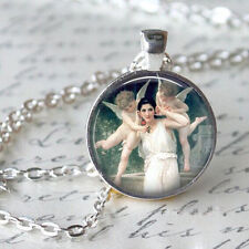 Vintage Angel 3 Cabochon Tibetan silver Glass Chain Pendant Necklace Angel
