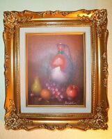 Vintage Still Life Fruit & Pitcher Motif Oil Painting~ By Frank Lean Listed