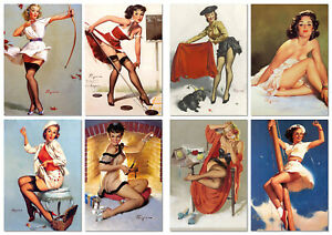 Set of 16 postcards with pin-up plots by artist Gil Elvgren