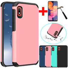 For Samsung Galaxy A10e Shockproof Armor Hard Slim TPU Case Cover+Tempered Glass