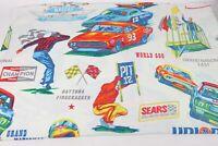 Vintage Sears NASCAR Racing Bed Sheet Winston 500 Charger Road Runner Mopar Rare
