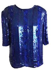 Tribout Women's 100% Silk Blue Sequin Formal Three-Quarter Sleeve Top M