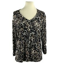 Chicos Travelers Size 2 Top V-Neck 3/4 Sleeve Slinky Stretch Black Brown Beige