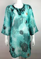 CRUISE WEAR & CO. Green Floral Sheer Top Cover Up Beach Tunic Swim Size S Small