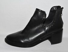 TOPSHOP SZ 6 M 37 BLACK LEATHER ANKLE BOOTS BOOTIES HEELS SHOES