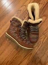 Bearpaw Women's Ankle Boots Suede/Nylon Hickory/Multicolored Size 8