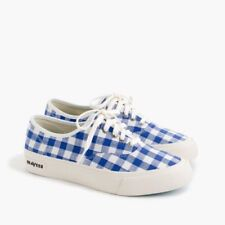 New J.Crew SeaVees Blue White Legend Canvas Sneakers In Gingham Check Print 8