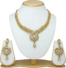 Traditional Indian Ethnic Gold Tone Fashion Jewelry Bridal Necklace Earrings Set