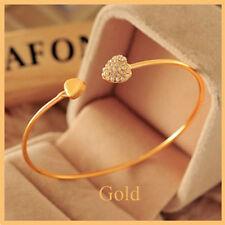 Double Heart Full Terrible 9K Gold&Silver Filled Women's Bangle Bracelet