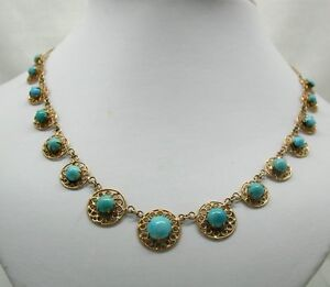 Beautiful Vintage Oriental 18ct Gold And Turquoise Necklace