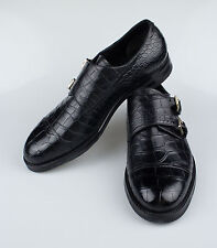 New BRIONI Black Crocodile Leather Double Monkstrap Dress Shoes Size 10/43