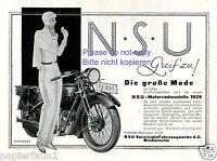 NSU Motorrad Reklame 1929 Graphik Sternberg Motorradfahrerin Werbung schminken