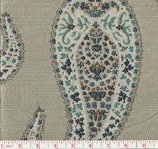 P Kaufmann Paisley Park Lagoon Blue Beige Paisley Woven Upholstery Fabric BTY