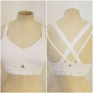 Lululemon Womens SZ 8 Sports Bra Layered Strappy Back Key Hole White