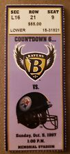 1997 BALTIMORE RAVENS NFL TICKET STUB, VS PITTSBURGH STEELERS