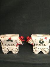 Vintage Christmas Noel Cowboy Santa Covered Wagon Candle Holders