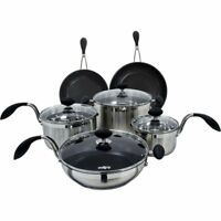 Eazigrip 10 Piece Non-Stick Stainless Steel Cookware Set  RRP: £299. CLEARANCE..