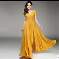 New Women Long Formal Prom Party Bridesmaid Chiffon Gown Cocktail V neck Dress