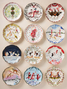 NEW Anthropologie Inslee Fariss Twelve 12 Days Christmas Plate Holiday IN HAND