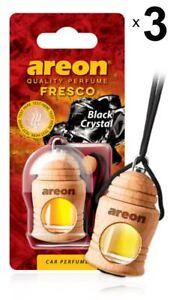 3 x Areon Fresco Black Crystal Car Aroma Perfume Tree Air Freshener HOME OFFICE