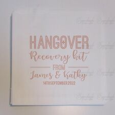Personalised Wedding Sweet Bags White Paper Hangover Survival Kit Rose Gold Pink