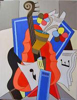 "Original Oil Painting: ""ABSTRACT GUITAR #5"" on Canvas 28"" x 22"" (Art/Music/Miro)"
