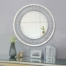 Large Round Decorative Home Silver Jewelled Wall Mirror Art Hung Venetian Mirror