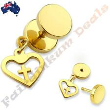 316L Surgical Steel Gold Ion Plated Fake Ear Plug With Heart Cross Dangle