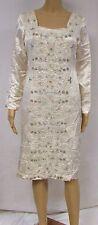Vintage Dress Shift Tunic Ethnic Boho Rhinestone Beaded Floral Brocade White