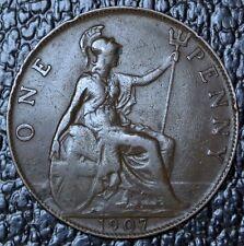 1907 Great Britian - One Penny - Bronze - Edward Vii - Nice