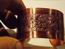 NEW Copper W/Purple Hue Floral Women Adjustable Cuff Bracelet, Arthritis Relief