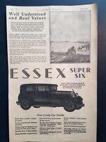 Essex Super Six Car Art 1928 Vintage Print Ad Farm Tractor 4 Door Sedan