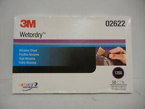 3M Wet or Dry Sandpaper Sheets 1200 Grit, 02622 (50 Per Box)