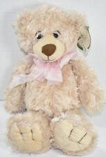First & Main BROWN SHAGGY REGIS TEDDY BEAR w/ Pink Bow STUFFED PLUSH TOY New NWT