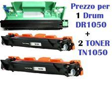 CARTUCCIA PER BROTHER DCP-1610W DCP-1612W SET DA 2 TONER TN1050+1 TAMBURO DR1050