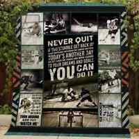 Hockey Never Quit If You Stumble Get Back Up Fleece Blanket 50x60x80 Made In US