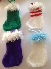 4 Knitted Mini Christmas Stockings  Different ColoursWith Loop