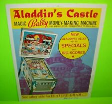 Aladdin's Castle Pinball Machine FLYER Original 1976 Bally Game Artwork Sheet