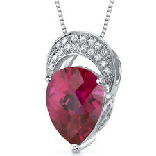 3 CT Pear Red Ruby Sterling Silver Pendant