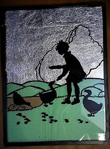 Art Project VINTAGE SILHOUETTE Handmade Country school Little Girl w Ducks Foil