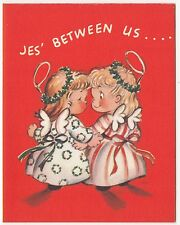 """UNUSED Vintage Greeting Card Christmas Angel """"Jes' Between Us"""" Rust Craft 1940s"""