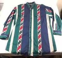 Roper Men's Western Aztec Button Up Shirt Vintage 90s Made In USA 3XLT 3XT